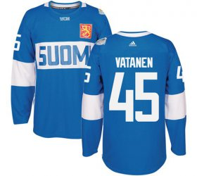 Wholesale Cheap Team Finland #45 Sami Vatanen Blue 2016 World Cup Stitched NHL Jersey