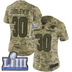 Wholesale Cheap Nike Rams #30 Todd Gurley II Camo Super Bowl LIII Bound Women\'s Stitched NFL Limited 2018 Salute to Service Jersey
