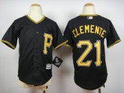Wholesale Cheap Pirates #21 Roberto Clemente Black Cool Base Stitched Youth MLB Jersey