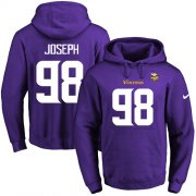 Wholesale Cheap Nike Vikings #98 Linval Joseph Purple Name & Number Pullover NFL Hoodie