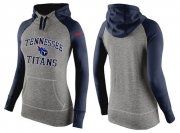 Wholesale Cheap Women's Nike Tennessee Titans Performance Hoodie Grey & Dark Blue_2