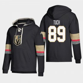 Wholesale Cheap Vegas Golden Knights #89 Alex Tuch Black adidas Lace-Up Pullover Hoodie