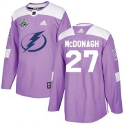 Cheap Adidas Lightning #27 Ryan McDonagh Purple Authentic Fights Cancer Youth 2020 Stanley Cup Champions Stitched NHL Jersey