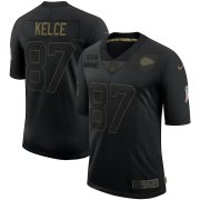 Wholesale Cheap Nike Chiefs 87 Travis Kelce Black 2020 Salute To Service Limited Jersey
