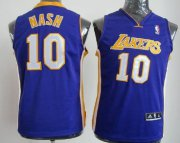 Cheap Los Angeles Lakers #10 Steve Nash Purple Kids Jersey