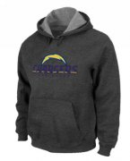 Wholesale Cheap Los Angeles Chargers Authentic Logo Pullover Hoodie Dark Grey