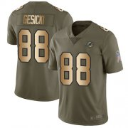 Wholesale Cheap Nike Dolphins #88 Mike Gesicki Olive/Gold Men's Stitched NFL Limited 2017 Salute To Service Jersey