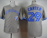 Wholesale Cheap Mitchell And Ness 1992 Blue Jays #29 Joe Carter Grey Stitched MLB Throwback Jersey