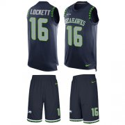 Wholesale Cheap Nike Seahawks #16 Tyler Lockett Steel Blue Team Color Men's Stitched NFL Limited Tank Top Suit Jersey