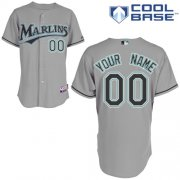Wholesale Cheap Marlins Personalized Authentic Grey MLB Jersey (S-3XL)