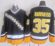 Wholesale Cheap Penguins #35 Tom Barrasso Black/Yellow CCM Throwback Stitched NHL Jersey