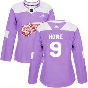 Wholesale Cheap Adidas Red Wings #9 Gordie Howe Purple Authentic Fights Cancer Women's Stitched NHL Jersey