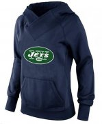 Wholesale Cheap Women's New York Jets Logo Pullover Hoodie Navy Blue
