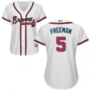 Wholesale Cheap Braves #5 Freddie Freeman White Home Women's Stitched MLB Jersey