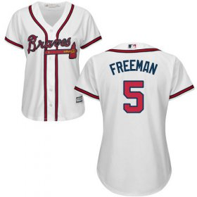 Wholesale Cheap Braves #5 Freddie Freeman White Home Women\'s Stitched MLB Jersey