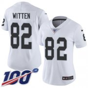 Wholesale Cheap Nike Raiders #82 Jason Witten White Women's Stitched NFL 100th Season Vapor Untouchable Limited Jersey