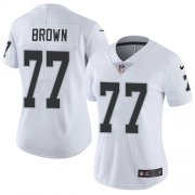 Wholesale Cheap Nike Raiders #77 Trent Brown White Women's Stitched NFL Vapor Untouchable Limited Jersey