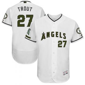 Wholesale Cheap Angels of Anaheim #27 Mike Trout White Flexbase Authentic Collection Memorial Day Stitched MLB Jersey