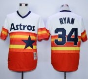 Wholesale Mitchell and Ness Astros #34 Nolan Ryan White/Orange Stitched Throwback Baseball Jersey