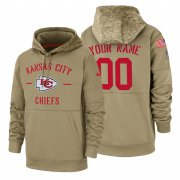Wholesale Cheap Kansas City Chiefs Custom Nike Tan 2019 Salute To Service Name & Number Sideline Therma Pullover Hoodie