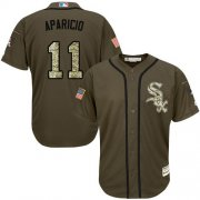 Wholesale Cheap White Sox #11 Luis Aparicio Green Salute to Service Stitched Youth MLB Jersey