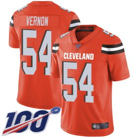 Wholesale Cheap Nike Browns #54 Olivier Vernon Orange Alternate Men\'s Stitched NFL 100th Season Vapor Limited Jersey