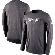 Wholesale Cheap Philadelphia Eagles Nike Sideline Seismic Legend Long Sleeve T-Shirt Charcoal