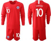 Wholesale Cheap Chile #10 Vargas Home Long Sleeves Soccer Country Jersey