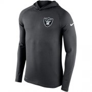 Wholesale Cheap Men's Las Vegas Raiders Nike Charcoal Stadium Touch Hooded Performance Long Sleeve T-Shirt