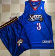 Wholesale Cheap Philadelphia 76ers #3 Allen Iverson Blue A Set Stitched NBA Jersey
