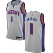 Wholesale Cheap Nike Pistons #1 Reggie Jackson Silver NBA Swingman Statement Edition Jersey
