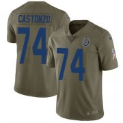 Wholesale Cheap Nike Colts #74 Anthony Castonzo Olive Youth Stitched NFL Limited 2017 Salute To Service Jersey