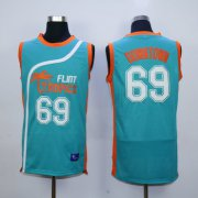 Wholesale Cheap Flint Tropics 69 Downtown Teal Semi Pro Movie Stitched Basketball Jersey