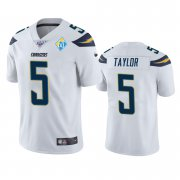 Wholesale Cheap Los Angeles Chargers #5 Tyrod Taylor White 60th Anniversary Vapor Limited NFL Jersey