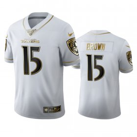 Wholesale Cheap Baltimore Ravens #15 Marquise Brown Men\'s Nike White Golden Edition Vapor Limited NFL 100 Jersey