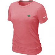 Wholesale Cheap Women's Nike New York Jets Chest Embroidered Logo T-Shirt Pink