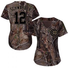 Wholesale Cheap Cubs #12 Kyle Schwarber Camo Realtree Collection Cool Base Women\'s Stitched MLB Jersey
