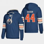 Wholesale Cheap Edmonton Oilers #44 Zack Kassian Royal adidas Lace-Up Pullover Hoodie