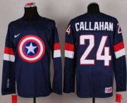 Wholesale Cheap Olympic Team USA #24 Ryan Callahan Navy Blue Captain America Fashion Stitched NHL Jersey