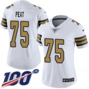 Wholesale Cheap Nike Saints #75 Andrus Peat White Women's Stitched NFL Limited Rush 100th Season Jersey