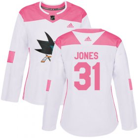 Wholesale Cheap Adidas Sharks #31 Martin Jones White/Pink Authentic Fashion Women\'s Stitched NHL Jersey