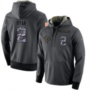 Wholesale Cheap NFL Men's Nike Atlanta Falcons #2 Matt Ryan Stitched Black Anthracite Salute to Service Player Performance Hoodie