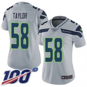 Wholesale Cheap Nike Seahawks #58 Darrell Taylor Grey Alternate Women's Stitched NFL 100th Season Vapor Untouchable Limited Jersey