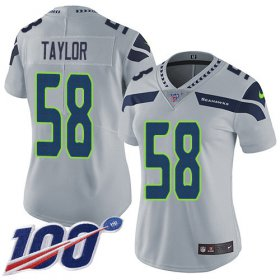 Wholesale Cheap Nike Seahawks #58 Darrell Taylor Grey Alternate Women\'s Stitched NFL 100th Season Vapor Untouchable Limited Jersey