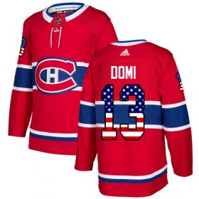 Wholesale Cheap Adidas Canadiens #13 Max Domi Red Home Authentic USA Flag Stitched Youth NHL Jersey