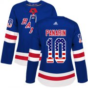 Wholesale Cheap Adidas Rangers #10 Artemi Panarin Royal Blue Home Authentic USA Flag Women's Stitched NHL Jersey