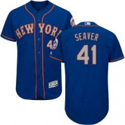 Wholesale Cheap Mets #41 Tom Seaver Blue(Grey NO.) Flexbase Authentic Collection Stitched MLB Jersey