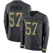 Wholesale Cheap Nike Bills #57 A.J. Epenesas Anthracite Salute to Service Men's Stitched NFL Limited Therma Long Sleeve Jersey