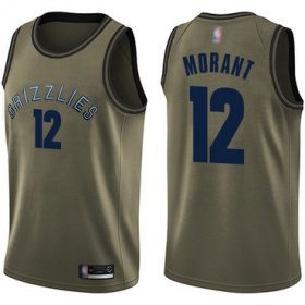 Cheap Youth Grizzlies #12 Ja Morant Green Youth Basketball Swingman Salute to Service Jersey