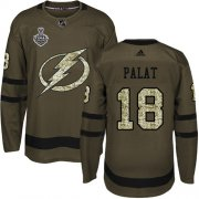Wholesale Cheap Adidas Lightning #18 Ondrej Palat Green Salute to Service 2020 Stanley Cup Final Stitched NHL Jersey